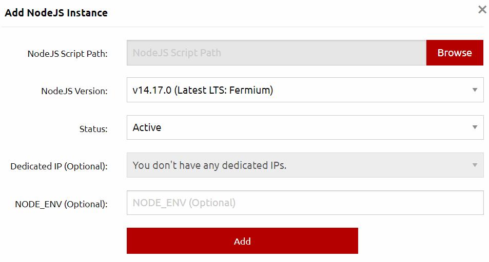 NodeJS a selectable option with your HostFraser.com Hosting